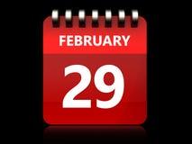 3d 29 Luty kalendarz Obrazy Stock