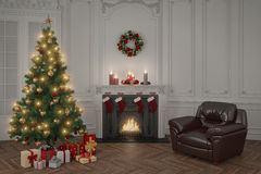 3d - luxury apartment - christmas. 3d rendering of a luxury apartment decorated for christmas with a christmas tree Stock Photo