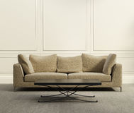 3d luxury classic  living room. 3d luxury beige classic  living room with grey carpet Royalty Free Stock Images