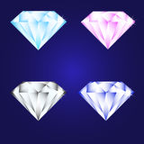 3d luxury diamond brilliant icon set different colors on a deep blue background. Bright luxury diamond brilliant icon set different colors on a deep blue Royalty Free Stock Photo