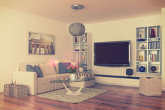 3d - luxury modern loft apartment - retro style - shot 43 Stock Photography