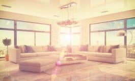 3d - luxury modern loft apartment - retro style - shot 45 Stock Photos
