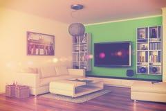 3d - luxury modern loft apartment - retro style - shot 44 Royalty Free Stock Photos