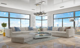 3d - luxury modern loft apartment - shot 45 Royalty Free Stock Photo