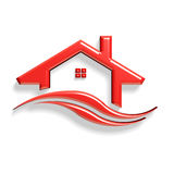 3D Luxury Red House with waves Stock Image