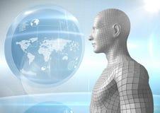 3D mâle blanc AI contre le globe et les fusées Photos libres de droits