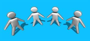 3d män, för person lag tillsammans - Arkivbild