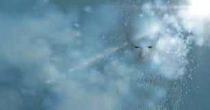 3D männliches geformtes binär Code AI mit Wolken und blauer Hintergrund mit Aufflackern Lizenzfreies Stockbild