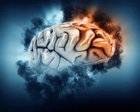 3D mózg z burz chmurami i czołowym lobe podkreślającymi Zdjęcia Stock