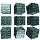 3D mönstrad kub Arkivfoto