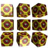3D mönstrad kub Arkivbilder