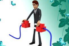3d mężczyzna łączy wtyczkową ilustrację Zdjęcia Stock