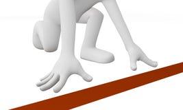 3d mężczyzna biegacz przy początek linią Zdjęcie Stock