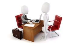 3d mężczyzna, biznesowy spotkanie, akcydensowy wywiad Zdjęcia Stock