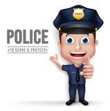 3D mężczyzna charakteru Realistyczny Życzliwy Milicyjny policjant ilustracja wektor