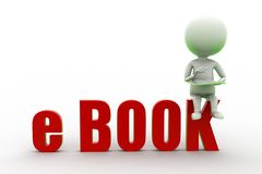 3d mężczyzna Czyta E - książka Obrazy Stock