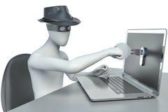 3d mężczyzna hacker, kraść dane od laptopu Zdjęcie Royalty Free