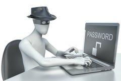 3d mężczyzna hacker, kraść dane od laptopu Obraz Royalty Free