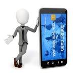 3d mężczyzna, mądrze telefon i kredytowa karta, Zdjęcie Stock
