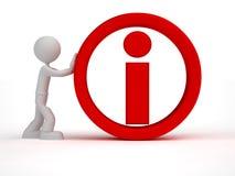 3d mężczyzna małego pchnięcia informaci czerwony znak Obrazy Royalty Free
