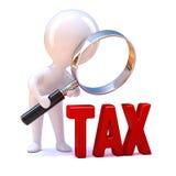 3d mężczyzna Mali spojrzenia przy słowo podatkiem Zdjęcie Royalty Free