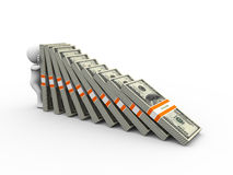 3d mężczyzna mienia dolara spada paczki Fotografia Stock