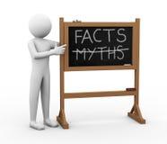 3d mężczyzna mitów i fact Chalkboard ilustracja Fotografia Stock