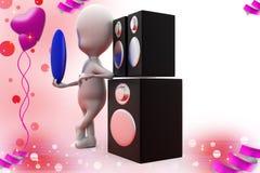 3d mężczyzna muzyczna głośnikowa ilustracja Fotografia Royalty Free