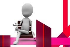 3d mężczyzna na ławki ilustraci Fotografia Royalty Free