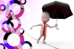 3d mężczyzna na arkanie z parasolową ilustracją Obraz Royalty Free