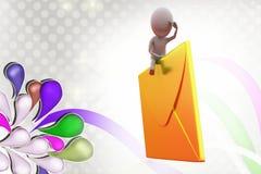 3d mężczyzna na poczta ikony ilustraci Fotografia Stock