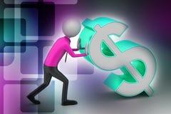 3d mężczyzna pcha dolarowego znaka Zdjęcia Stock