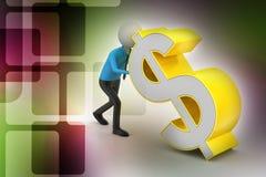 3d mężczyzna pcha dolarowego znaka Zdjęcie Stock