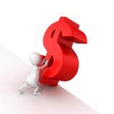3d mężczyzna pchnięcia czerwony dolarowy symbol spadać Obrazy Royalty Free