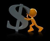 3d mężczyzna pchnięcia dolarowy znak Zdjęcia Royalty Free