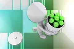 3D mężczyzna piłki wewnątrz przetwarzają kosz Zdjęcie Stock
