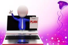 3d mężczyzna planu online ilustracja Obraz Stock
