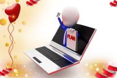 3d mężczyzna planu online ilustracja Zdjęcie Stock