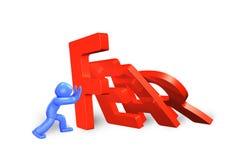 3d mężczyzna powstrzymywania domino spada strachu słowo, 3D ilustracja Obraz Royalty Free