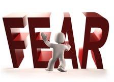 3d mężczyzna powstrzymywania strachu czerwony słowo spada, 3D ilustracja Fotografia Royalty Free