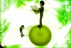 3d mężczyzna pozycja na kuli ziemskiej czytelniczej książce i fotografii illustrati Fotografia Royalty Free