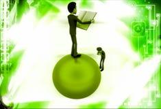 3d mężczyzna pozycja na kuli ziemskiej czytelniczej książce i fotografii illustrati Obrazy Stock