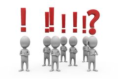 3d mężczyzna pytania i okrzyk oceny pojęcie Zdjęcie Stock