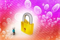 3D mężczyzna trzyma a   klucz i kłódka Obraz Stock