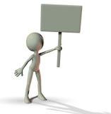 3D mężczyzna trzyma puste miejsce deskę Zdjęcia Stock