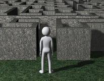3d mężczyzna wchodzić do skalistą labirynt łamigłówkę Zdjęcie Royalty Free