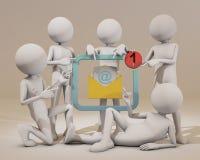 3d mężczyzna wskazuje palec przy emailem ilustracji