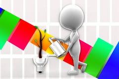 3d mężczyzna Wspiera Eco Oświetleniowego system Fotografia Stock