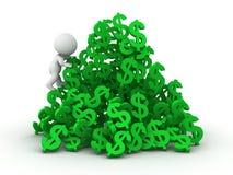 3D mężczyzna wspina się ogromnego stos dolarowi symbole ilustracji
