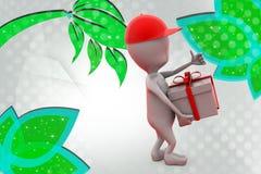 3d mężczyzna z prezent dostawy ilustracją Fotografia Royalty Free